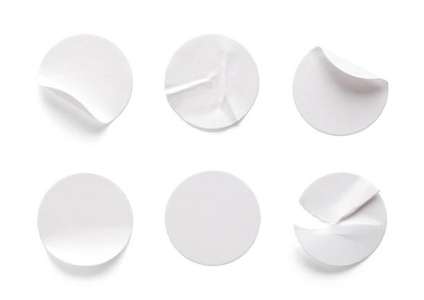 runde weiße etiketten - aufkleber stock-fotos und bilder