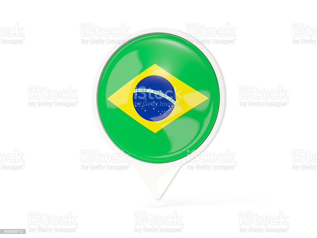 Round White Pin With Flag Of Brazil Stock Photo & More Pictures of ...
