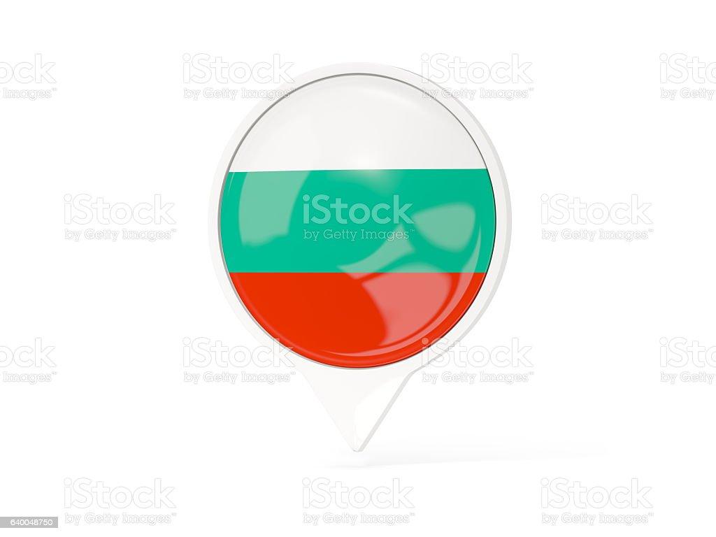 Round white pin with flag of bulgaria stock photo