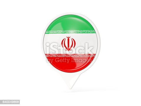 Round White Pin With Flag Of Iran Stock Photo More Pictures Of