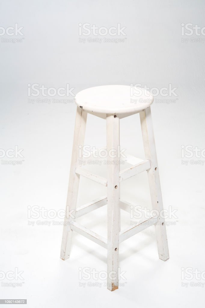 Fantastic Round White Wooden Chair On White Background Stock Photo Pabps2019 Chair Design Images Pabps2019Com