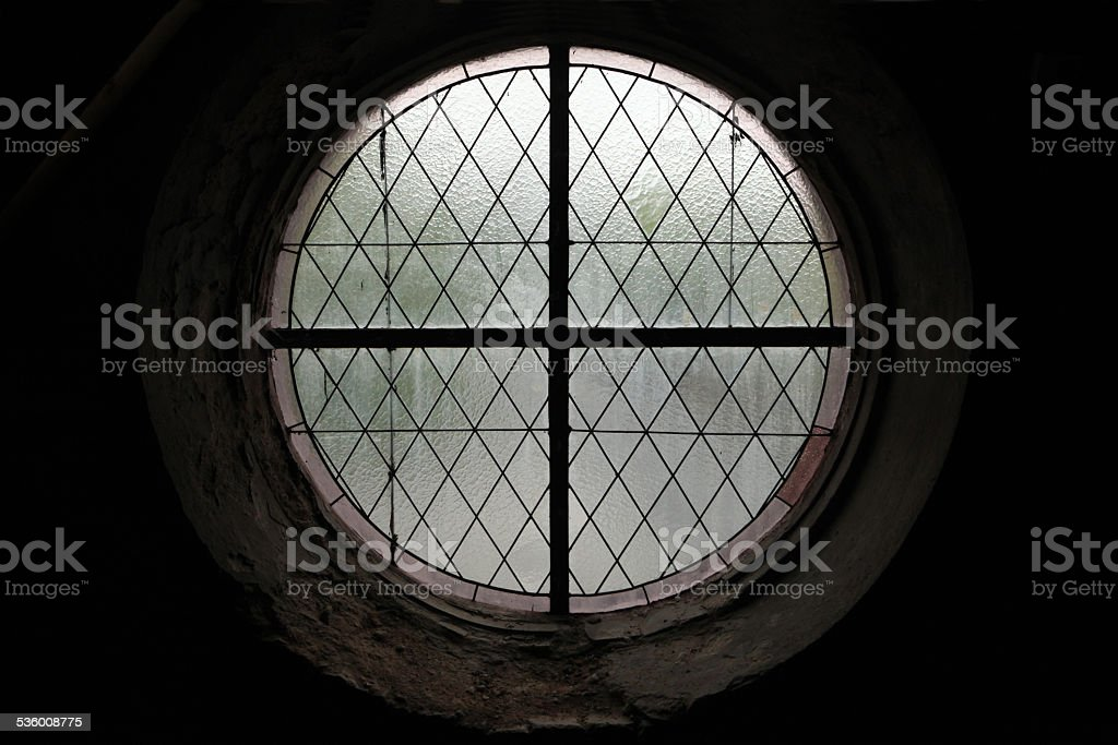 Round window in Kutna Hora, Czech Republic. stock photo