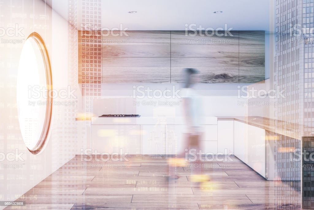 Round window kitchen interior toned blur royalty-free stock photo