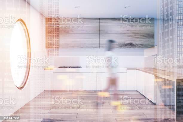 둥근 창 주방 인테리어 톤된 흐림 가정 생활에 대한 스톡 사진 및 기타 이미지