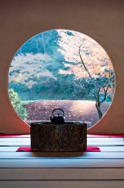 Round window of Meigetsu-in Kamakura, Japan - December 12, 2012: The round window of the temple