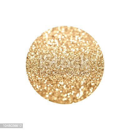 istock Round with gold glitter isolated on white background. 1048036612