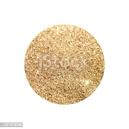 istock Round with gold glitter isolated on white background 1057878286