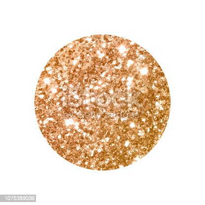 istock Round with gold glitter isolated on white background. 1075389036