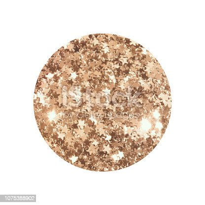 istock Round with gold glitter stars isolated on white background. 1075388902
