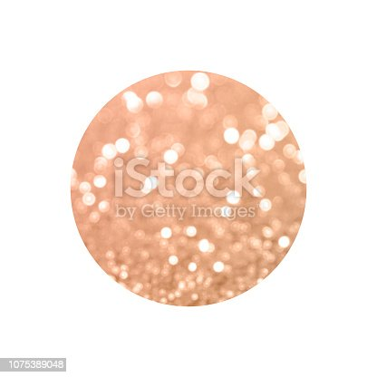 istock Round with rose gold glitter bokeh lights isolated on white background. 1075389048