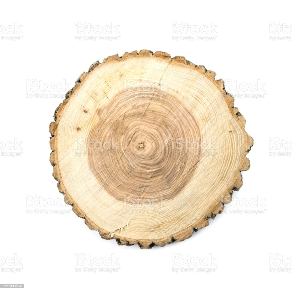 Round wooden cut board stock photo