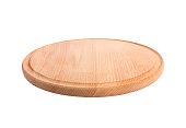 round wooden cutting Board isolate.