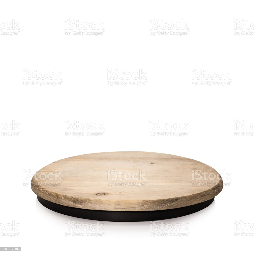 Round wooden display isolated on white background. Blank shelf for showing your product. ( Clipping paths ) stock photo
