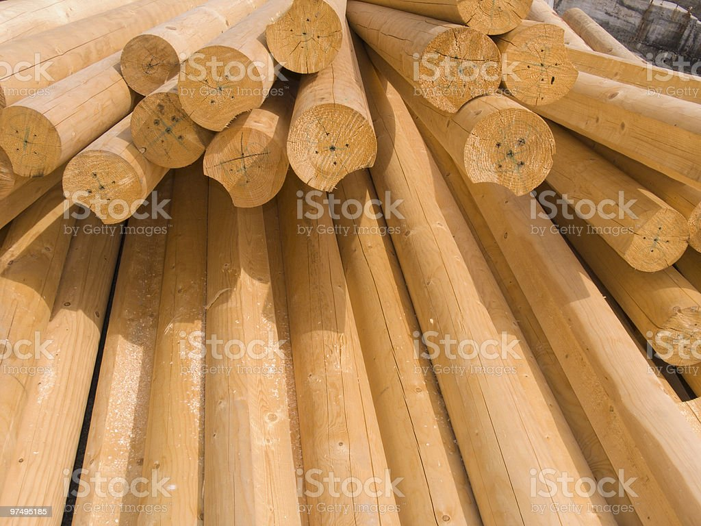 Round wooden logs royalty-free stock photo