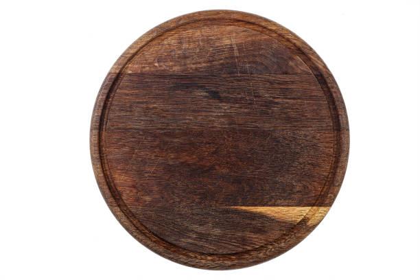 round wooden pizza - top view, wood table, empty imagens e fotografias de stock