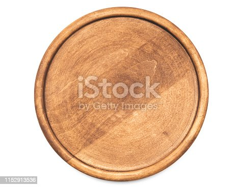 Round wooden pizza on white background