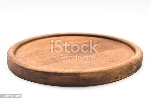 Round wooden pizza plate