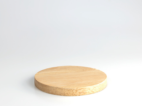 Round wooden product stand, Wooden Texture isolated on white background with clipping paths.