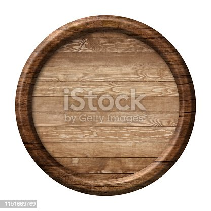 istock Round wooden signpost or plate made of natural wood and with dark frame 1151669769