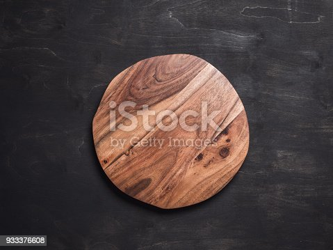 istock Round wooden tray 933376608