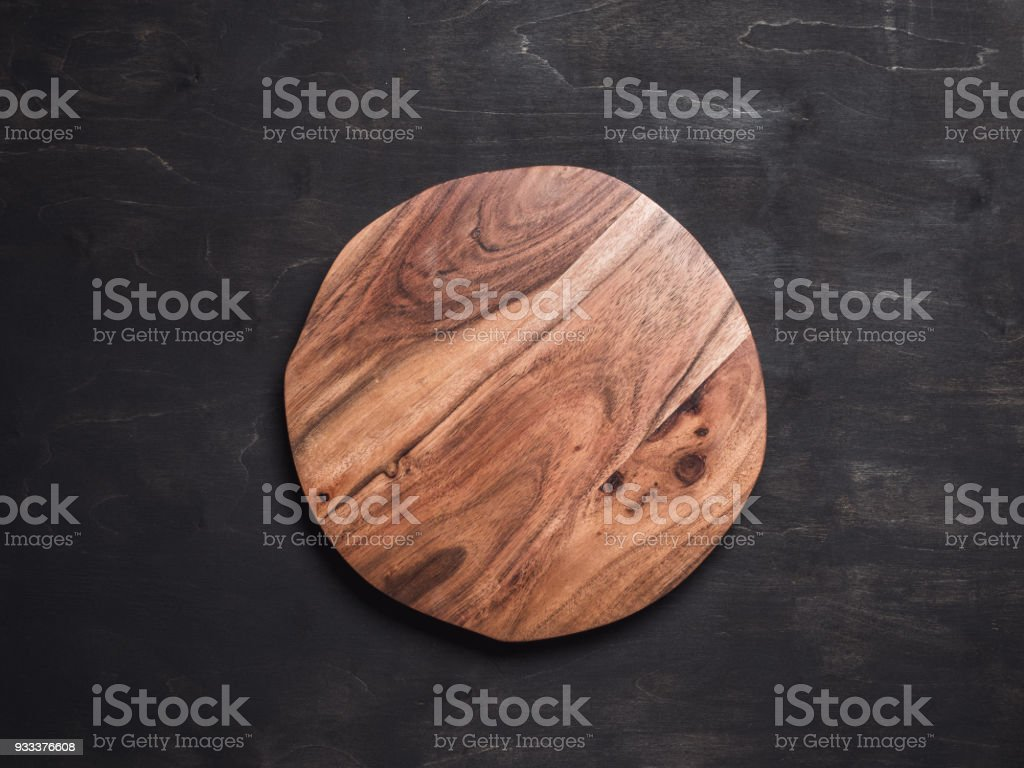 Round wooden tray stock photo