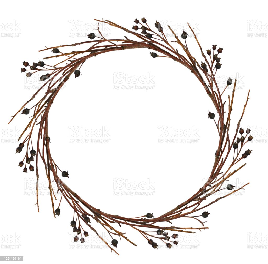 Round wreath from dry twigs stock photo