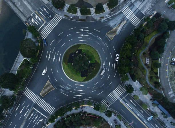 roundabaout aerial - kreisverkehr stock-fotos und bilder