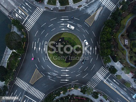 Big road interchange from above
