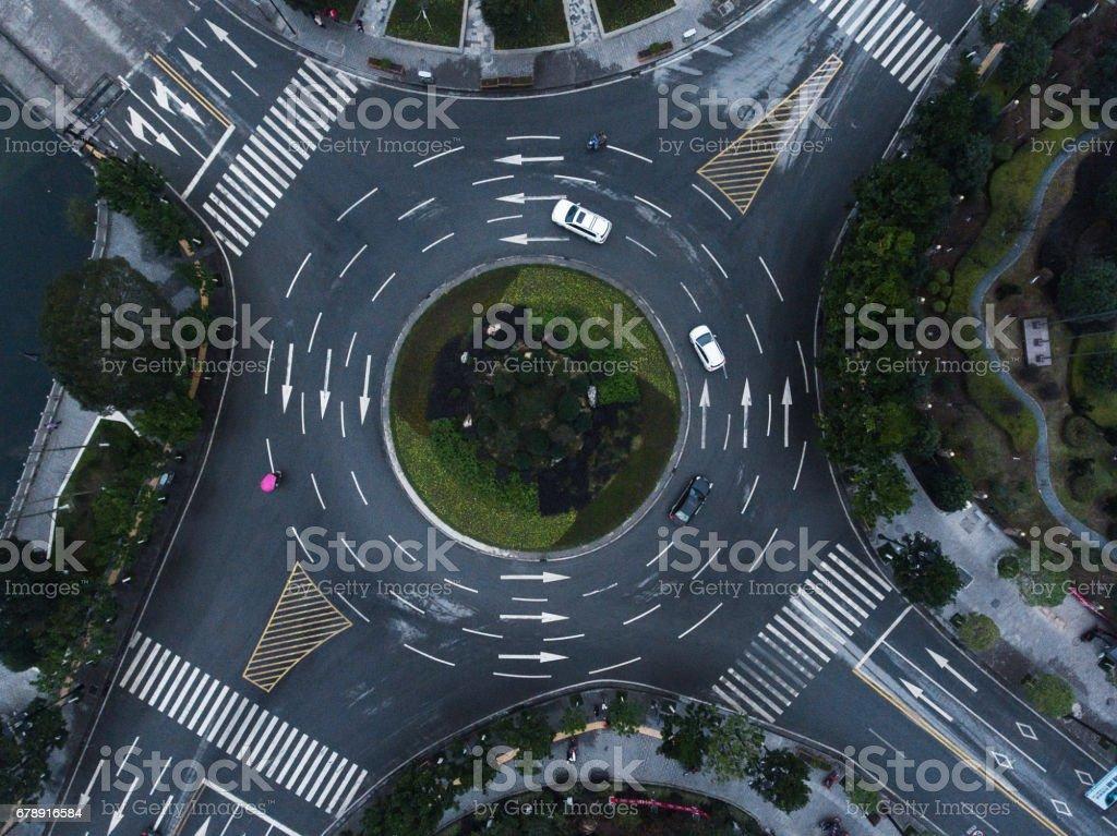 Roundabaout aerial stock photo