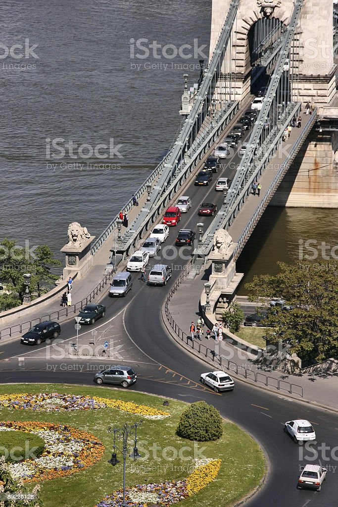 Roundabout and Chain Bridge in Budapest royalty-free stock photo