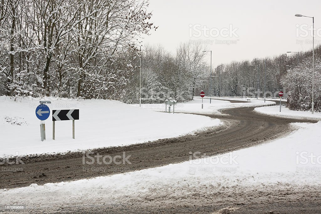 Roundabout in Snow stock photo