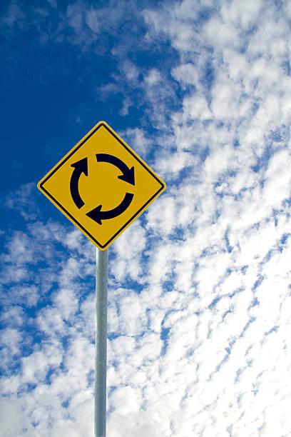kreisverkehr road sign - sich im kreis drehen stock-fotos und bilder