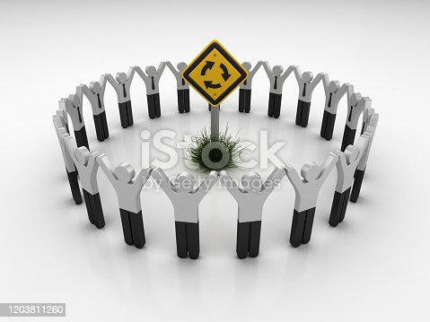 Roundabout Road Sign with Pictogram Teamwork People - 3D Rendering