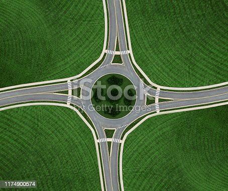 Aerial drone view of a roundabout.