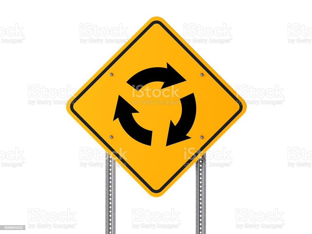 Roundabout Traffic Sign Isolated On White Background stock photo