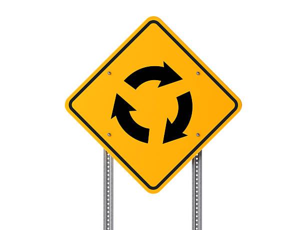 roundabout traffic sign isolated on white background - sich im kreis drehen stock-fotos und bilder
