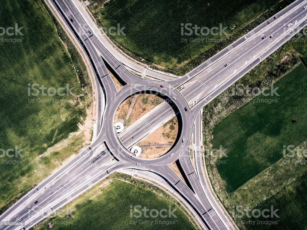 Roundabout viewed from above stock photo