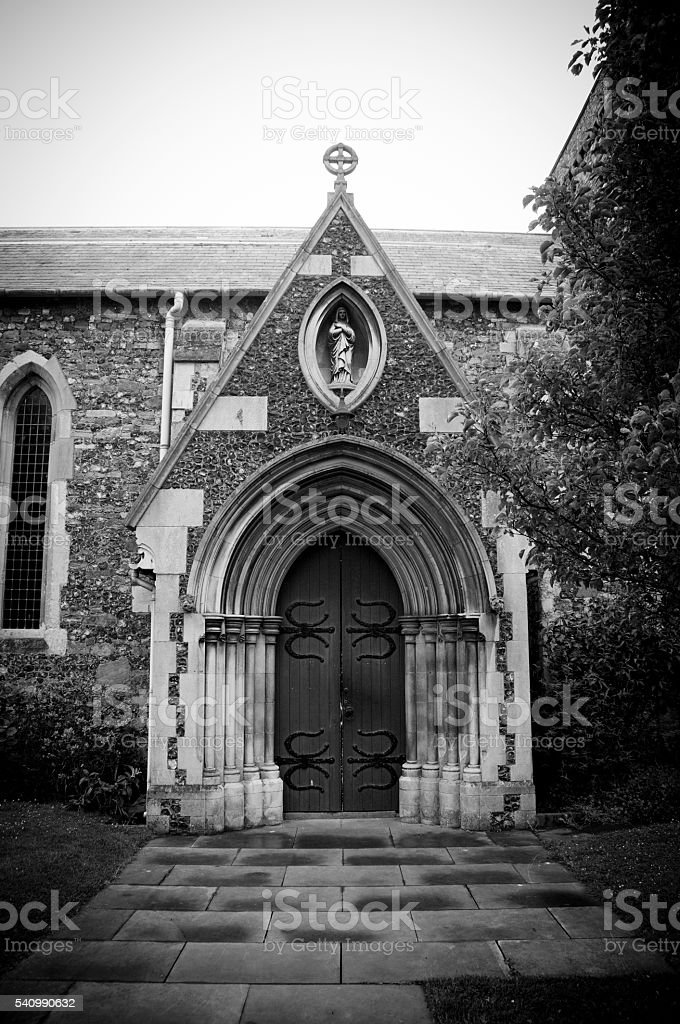 Rounded Arch entrance to Norman Church in Dover, England stock photo