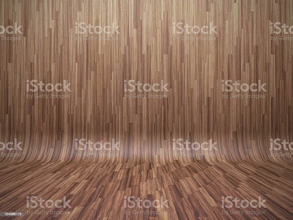 Rounded bent parquet floor in smooth, light brown wood stock photo