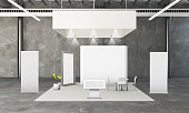 exhibition booth on industrial space 3d rendering