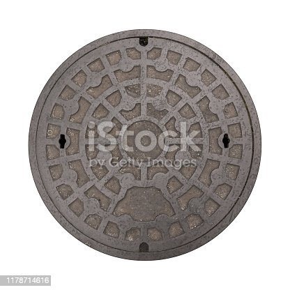 Rusty manhole cap, grunge manhole cover, round, isolated on white background.