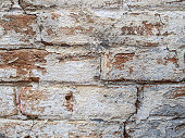 rounded Old dirty brickwork arch. White ruined whitewash. Background texture. Scratches and bumps.