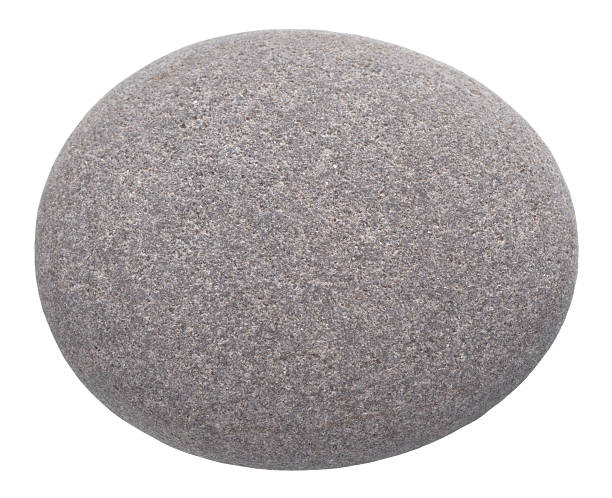 rounded pebble isolated on white background stock photo