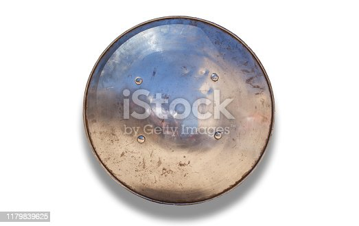 Rounded shield used by moorish armies during Reconquista period, 11-13th Century. Isolated