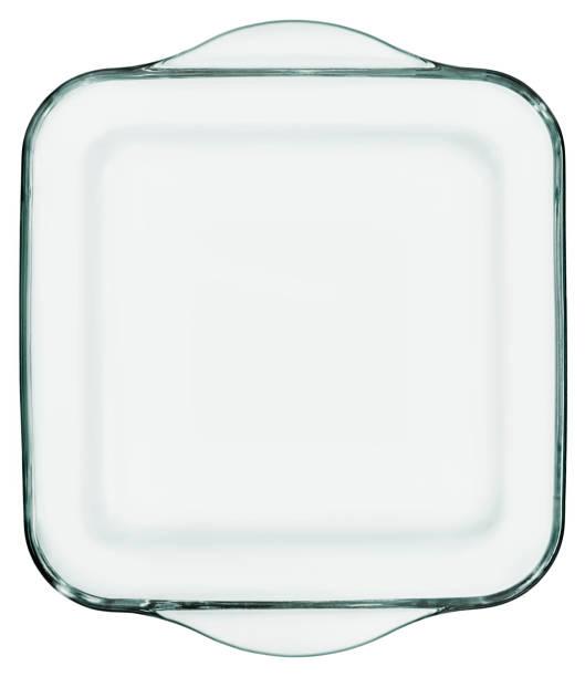 avrundat fyrkantig heath resistent glas gryta ugnsform isolerad på vit bakgrund - glas porslin bildbanksfoton och bilder