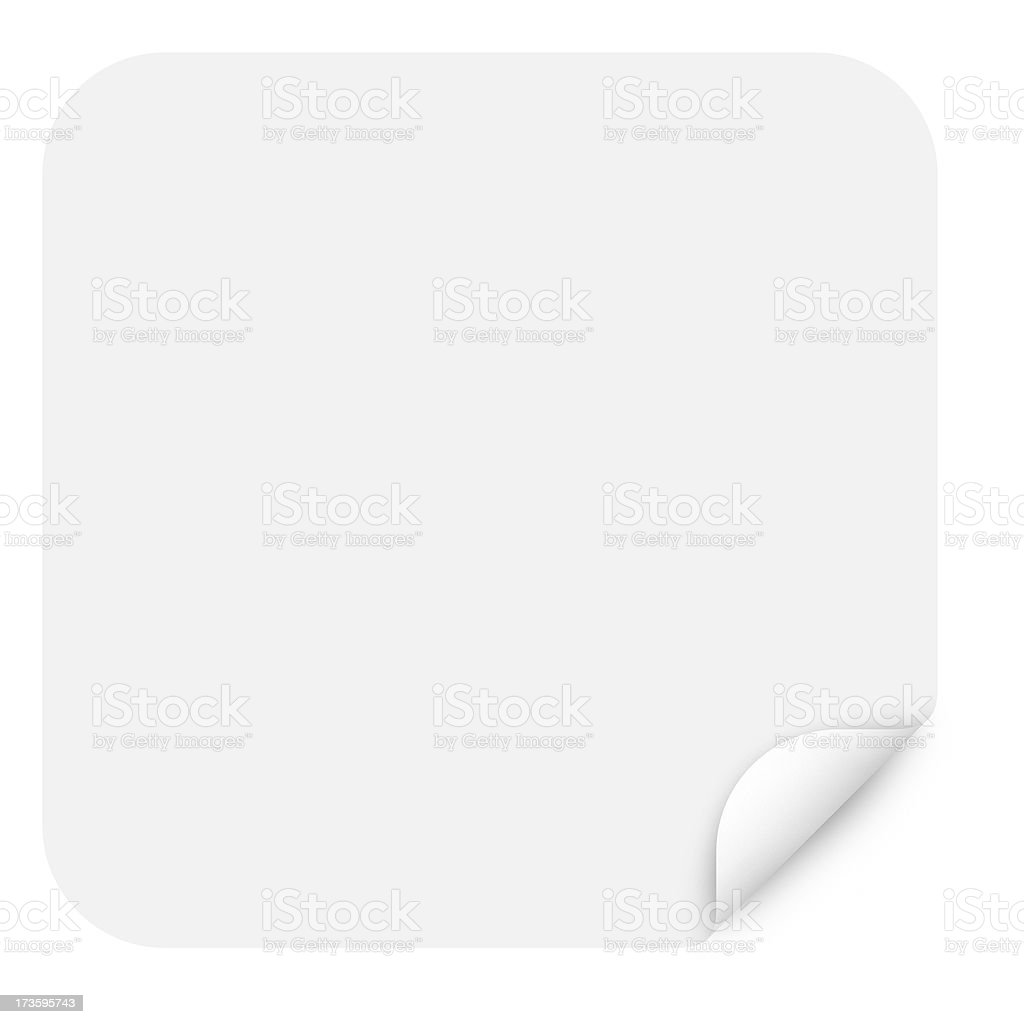 Rounded Square Sticker Label Peel with 3 Clipping Paths royalty-free stock photo
