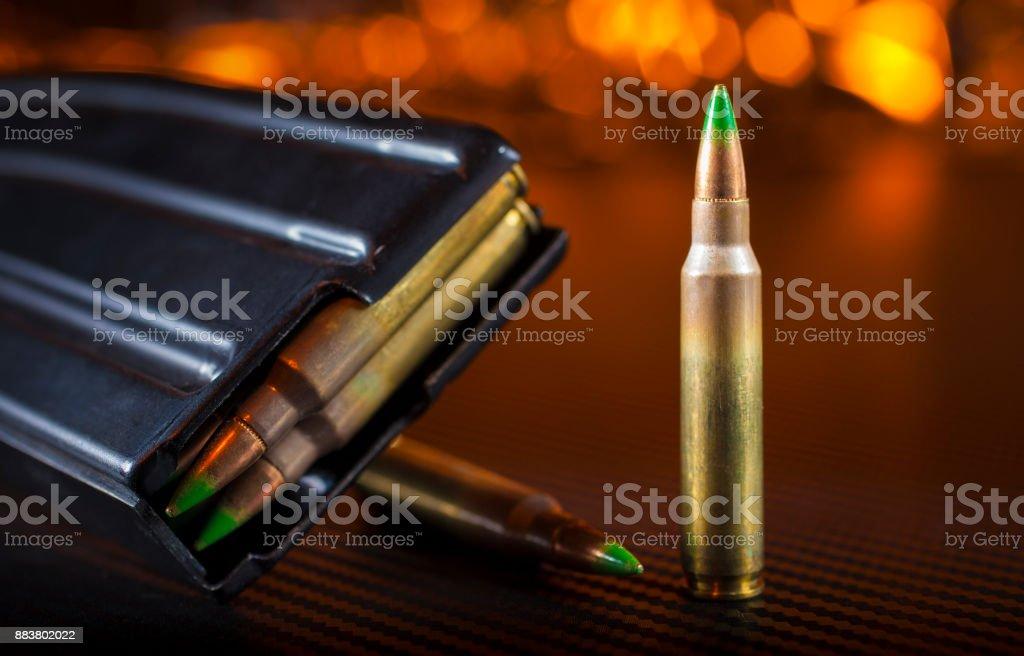 AR-15 rounds and magazine stock photo