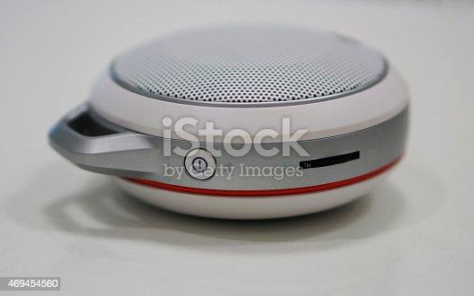 istock Round-shape portable loundspeaker 469454560