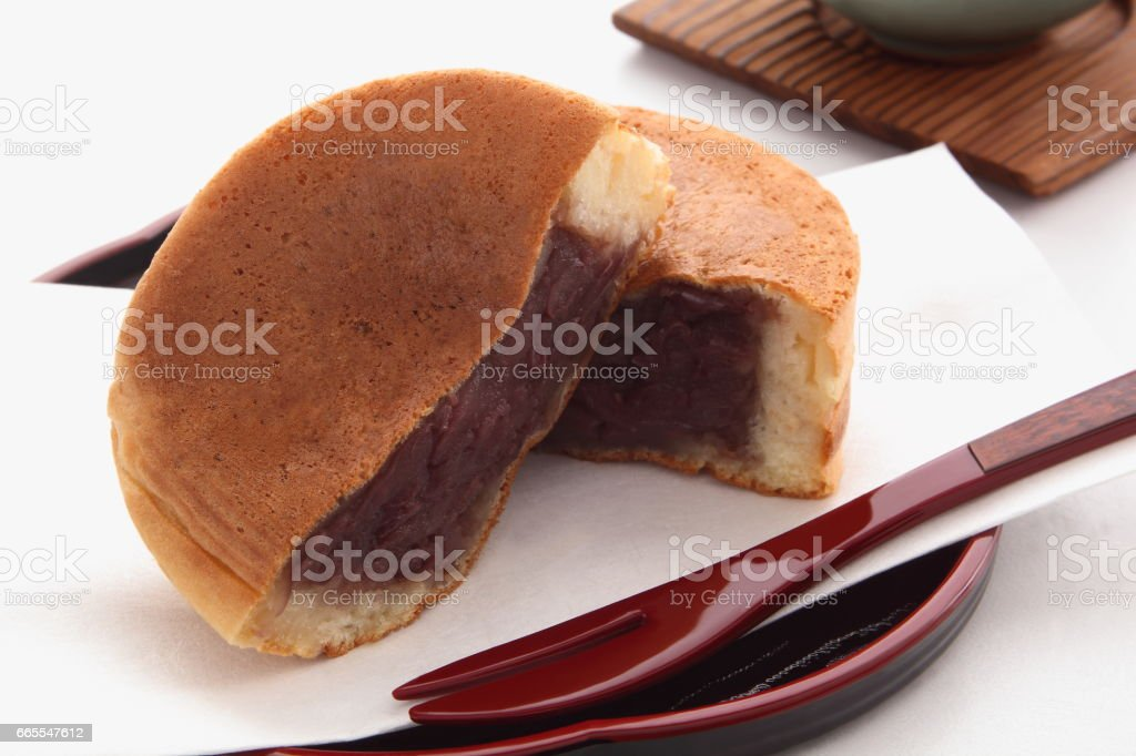 Round-shaped Cake Containing Red Bean Paste, Japanese Sweets stock photo