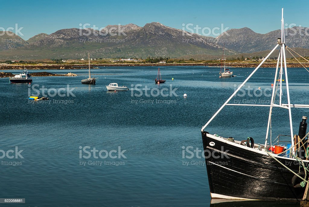 Roundstone Harbor and the Bens royalty-free stock photo